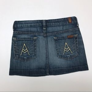 7 For All Mankind denim jean mini skirt
